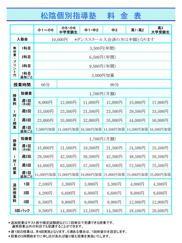2014塾料金